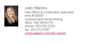 Jolin Warren Umpqua Financing